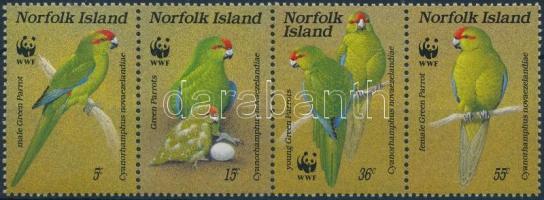 1987 WWF: Papagájok négyescsík Mi 421-424 + 4 db FDC