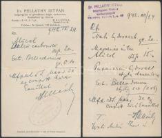 1942 dr. Pelláthy István kalocsai főorvos és kórházigazgató két darab, kézzel írott receptje
