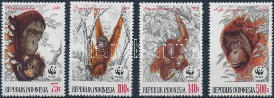 WWF Orangutans set + 4 FDC, WWF: Orangutánok sor + 4 db FDC
