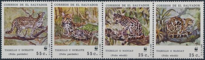 1988 WWF: Ocelot négyescsík Mi 1734-1737 + 4 db FDC