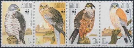 1991 WWF: Madarak négyescsík Mi 864-867 + 4 db FDC (gumihiba/gum disturbance)