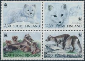 WWF: Sarki róka négyestömb + 4 db FDC, WWF Arctic fox block of 4 + 4 FDC