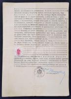 1943 A Balatonarácsi Szőlészeti és Borászati Szakiskola végbizonyítványának korabeli, hivatalos másolata