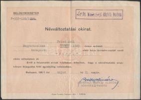 1954 Fenyő Emil (1889-1980) színész, filmrendező névváltoztatási okirata