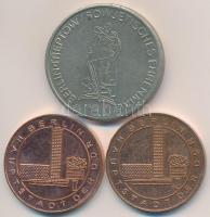 NDK ~1970-1980. Berlin, az NDK fővárosa / Tévétorony Cu emlékérem (2x) (30mm) + 1975. A fasizmus alól való felszabadulás 30. évfordulója fém emlékérem (36mm) T:2 GFR ~1970-1980. Berlin, the Capital of the GFR / Television Tower Cu medal (2x) (30mm) + 1975. 30th Anniversary - Liberation from Fascism metal commemorative medal (36mm) C:XF