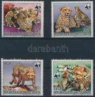 WWF Cheetahs set + 4 FDC, WWF: Gepárdok sor + 4 FDC