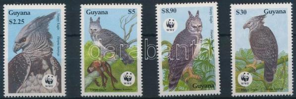 1990 WWF: Madarak sor Mi 3077-3080 + 4 FDC (gumihiba/gum disturbance)
