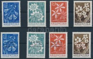 1960-1961 Virág sor + felülnyomott változata Mi 754-757 + 774-777