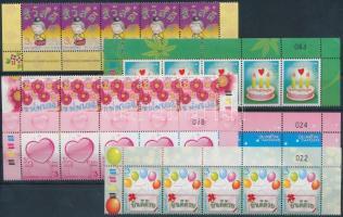 Greeting stamp set corner stripes of 5, Üdvözlőbélyeg sor ívsarki ötöscsíkokban