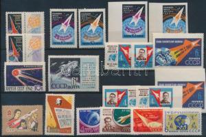 1961-1962 Space Exploration 20 diff sets with sets, 1961-1962 Űrkutatás motívum 20 bélyeg közte sorokkal, vágott és szelvényes értékek
