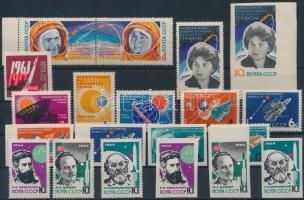 1963-1964 Space Exploration 19 stamps with sets, 1963-1964 Űrkutatás 19 bélyeg közte sorokkal, vágott értékekkel
