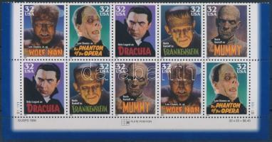 1997 Klasszikus mozi szörnyek ívsarki 10-es tömb Mi 2893-2897