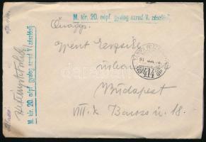 "Field post cover ""M.kir. 20. népf. gyalog. ezred V. zászlóalj"" + ""TP 414"", ~1915 Tábori posta levél ""M.kir. 20. népf. gyalog. ezred V. zászlóalj"" + ""TP 414"""
