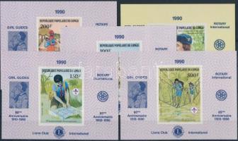 1982/1985 5 klf Cserkész bélyeg Rotary felülnyomású vágott blokkformában Mi 859-862, 1008