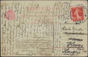 1907 Dijjegyes levelezőlap Hevesről Párizsba, újrabérmentesítve és visszaküldve / PS-card from Heves to Paris, refranked and returned