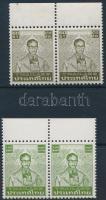 Definitive: King Bhumibol Adulyadej 2 diff margin pair, Forgalmi: Bhumibol Aduljadeh király 2 klf ívszéli pár