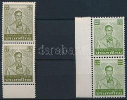 Defintive: King Bhumibol Adulyadej 2 diff stamps, Forgalmi: Bhumibol Aduljadeh király 2 klf ívszéli pár