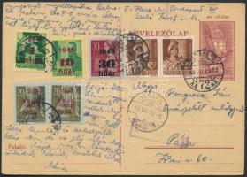 1945 (2. díjszabás) Díjkiegészített díjjegyes levelezőlap Pápára, cenzúrázva