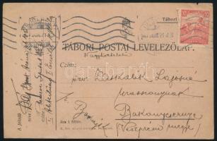 1917 Tábori lap közönséges küldeményként Budapestről, a bélyegző téves 1927 évszámmal
