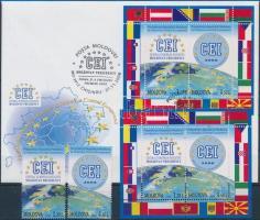 2008 Moldovai elnökség blokkból kitépett bélyeg Mi 636-637 + blokk 43 + blokk FDC-n