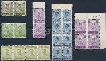 1972-1981 Definitive: King Bhumibol Aduljadeh 22 stamps, 1972-1981 Forgalmi: Bhumibol Aduljadeh király 22 db bélyeg 6 db összefüggésben