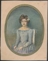 cca 1860 Színezett, átrajzolt műtermi fénykép, 14x11 cm, paszpartu karton 18x14 cm