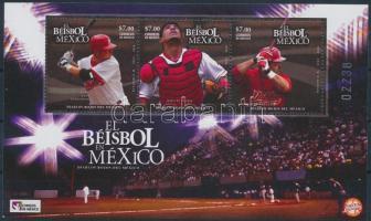 2010 Baseball Mexikóban blokk Mi 3559-3561 (betapadás, törött sarok)
