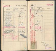 1943 Jogtudományi hallgató leckekönyve neves jogászok, többek között Szladits, Navratil saját kezű aláírásával