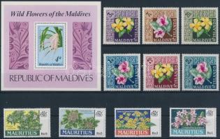 Virág motívum 10 klf tengerentúli bélyeg + 1 db blokk, Flowers 10 diff stamps + 1 block