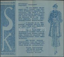 cca 1930 Bp. V. reklámnyomtatvány: Seiner és Klinger ruhaüzlet