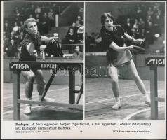 1970 Jónyer és Lotaller asztalitenisz bajnokok MTI sajtófotó 25x21 cm