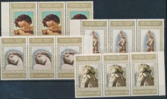 Michelangelo 7 stamps from set in margin stripes of 3, Michelangelo sor 7 értéke ívszéli hármascsíkokban