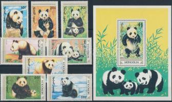 1990 Panda sor Mi 1877-1883 + blokk Mi 120