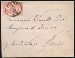 1877 2 x 5kr Párizsba küldött levélen / on cover to Paris FIUME A.M.