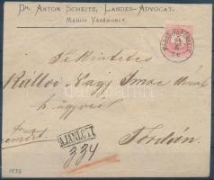 1876 5kr + 10kr távolsági ajánlott levélen / on registered domestic cover MAROS-VÁSÁRHELY - Torda (kiállítási célra szétnyitva / opened for exposition purpose)