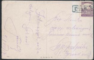 1918 Képeslap EGER P.U. pályaudvari bélyegzéssel