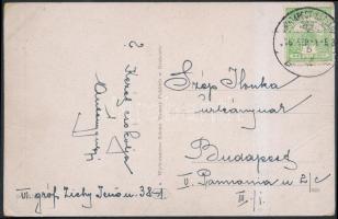 1916 Képeslap BUDAPEST - BAZIÁS vasúti bélyegzéssel