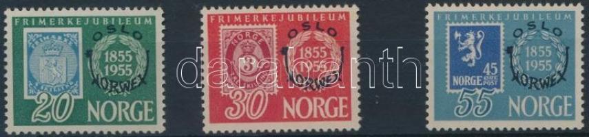 1955 Bélyegkiállítás sor Mi 393-395 (rozsdás gumi/stain gum)