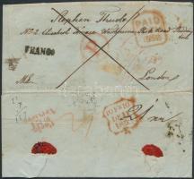 1852 Levél Nagyváradról Londonba egy menekült szabadságharcosnak 21kr hátoldali bérmentesítéssel / Cover from Nagyvárad to London for a refugee, 21kr on the backside