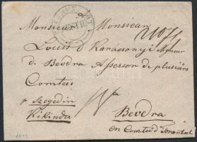1843 Portós levél ajánlva zöld PESTH - Beodra