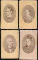 1870-1900 Női és férfi portrék, keményhátú kabinetfotók F. Bopp innsbrucki műterméből, 4db, cca 11x6cm