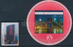The campaign against AIDS stamp + block, AIDS elleni kampány bélyeg + blokk