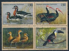 Endangered birds block of 4, Veszélyeztetett madarak négyestömb