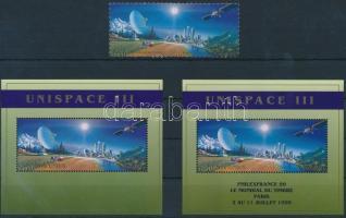 1999 UNISPACE III űrkutatási konferencia pár Mi 373-374 + blokkpár Mi 11, 11 I