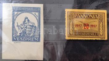 1927 Ifjúsági Bélyegkiállítás Veszprém vágott levélzáró, RR! + 1937 Pannónia Bélyegegyesület