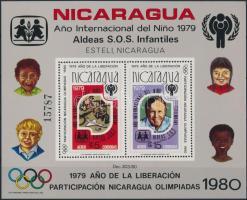 1980 Nicaragua részt vesz az olimpián; Nemzetközi Gyermek év blokk Mi 110 A