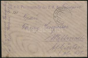 "Field post cover ""K.u.k. Fassungsstelle des 2.A.K."" + ""HP 388 a"", Tábori posta levél tartalommal ""K.u.k. Fassungsstelle des 2.A.K."" + ""HP 388 a"""