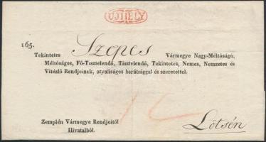1833 Hivatalos levél / official cover piros/red UJHELY - Lötse