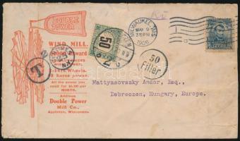 1906 Levél az USA-ból 50 Fillér portóbélyegzéssel és portóval / Cover from Milwaukee with 50f postage due