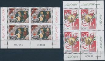 1998 Karácsony sor ívsarki négyestömbökben Mi 2428-2429